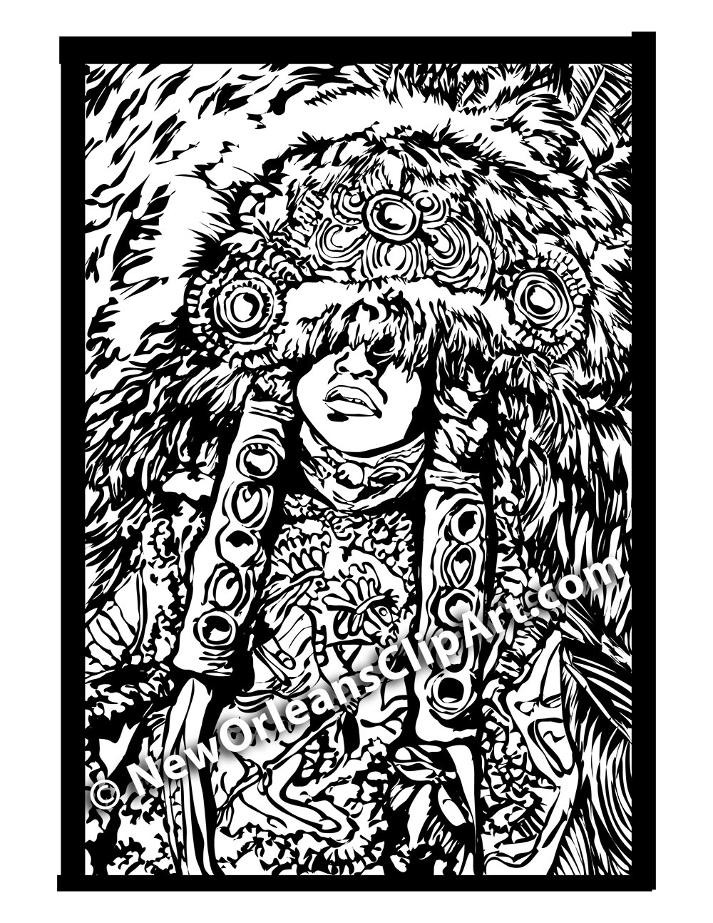 Black and White New Orleans Mardi Gras Indian Vector Clip Art