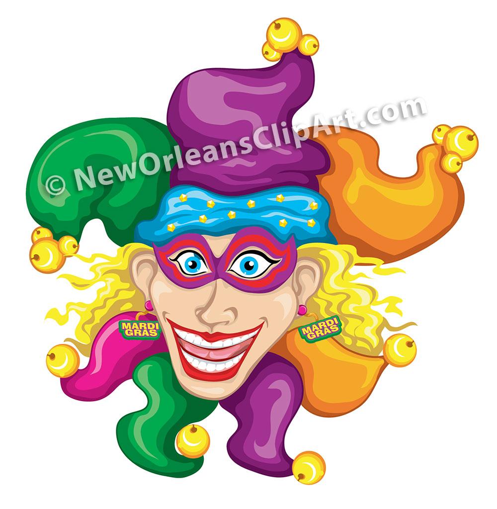 New Orleans Mardi Gras Jester Vector Clip Art