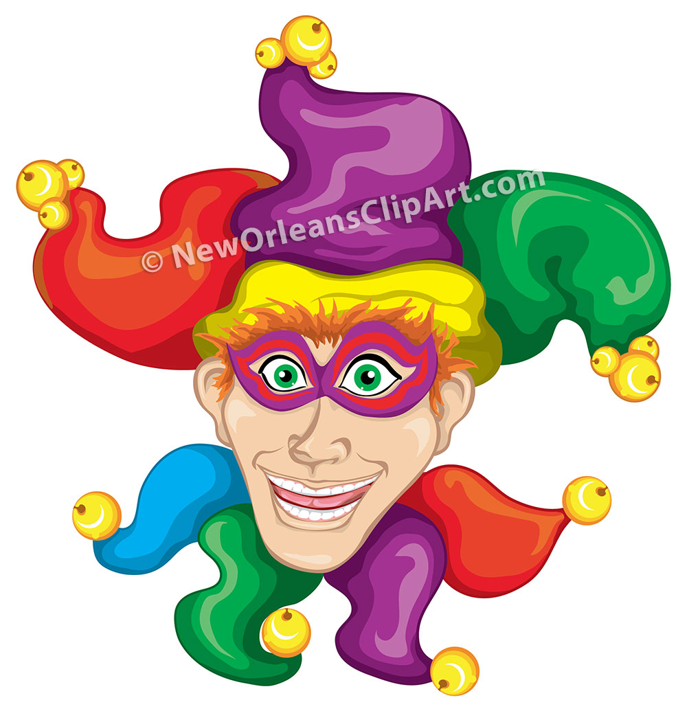 Male Mardi Gras Jester Vector Clip Art
