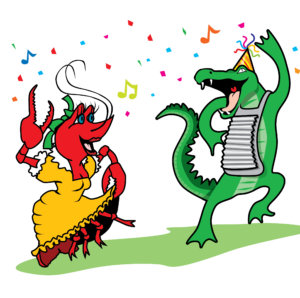 Crawfish and Alligator Dancing Vector Clip Art