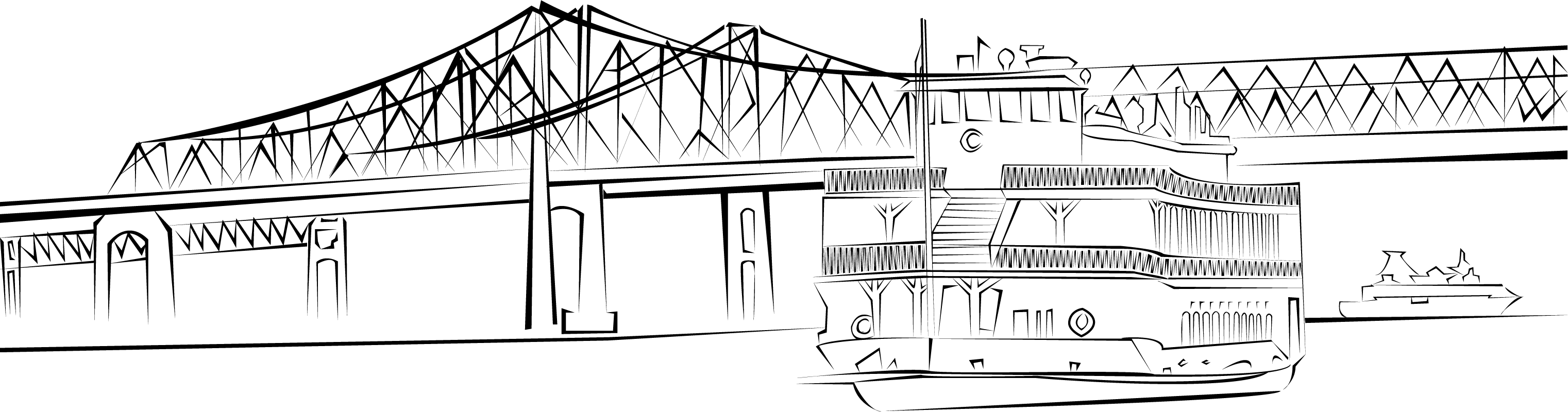 New Orleans Steamboat Vector Illustration with Bridge Clip Art