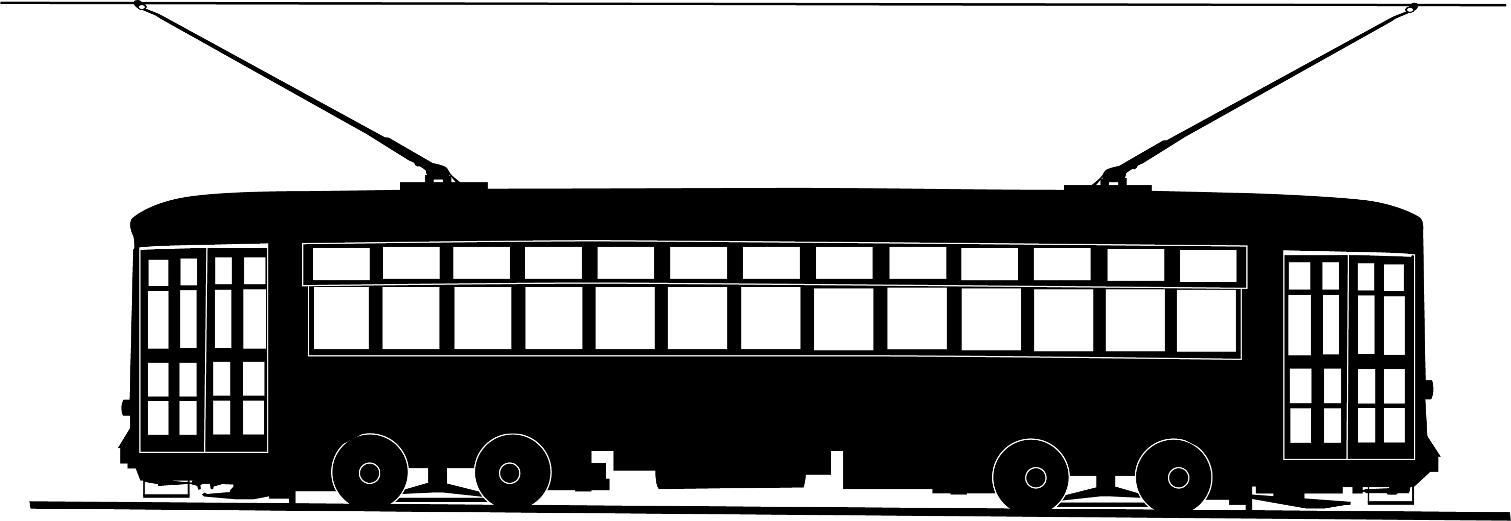 New Orleans Streetcar Black and White Vector Clip Art