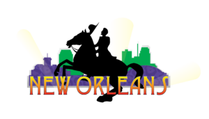 Vector New Orleans Statue with City Background Clip Art