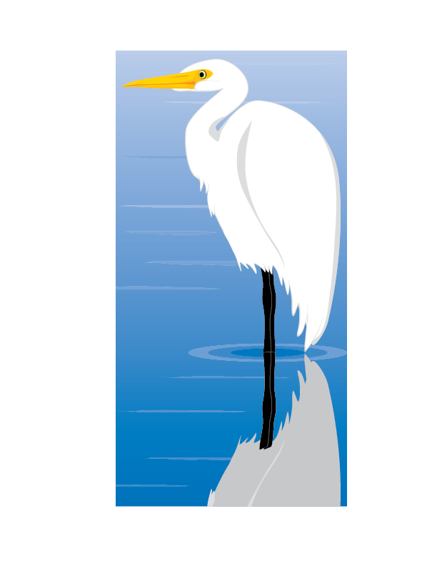 Egret Bird Vector Clip Art