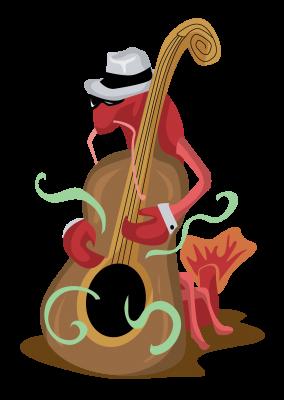 Crawfish Playing Bass Free Vector Clip Art