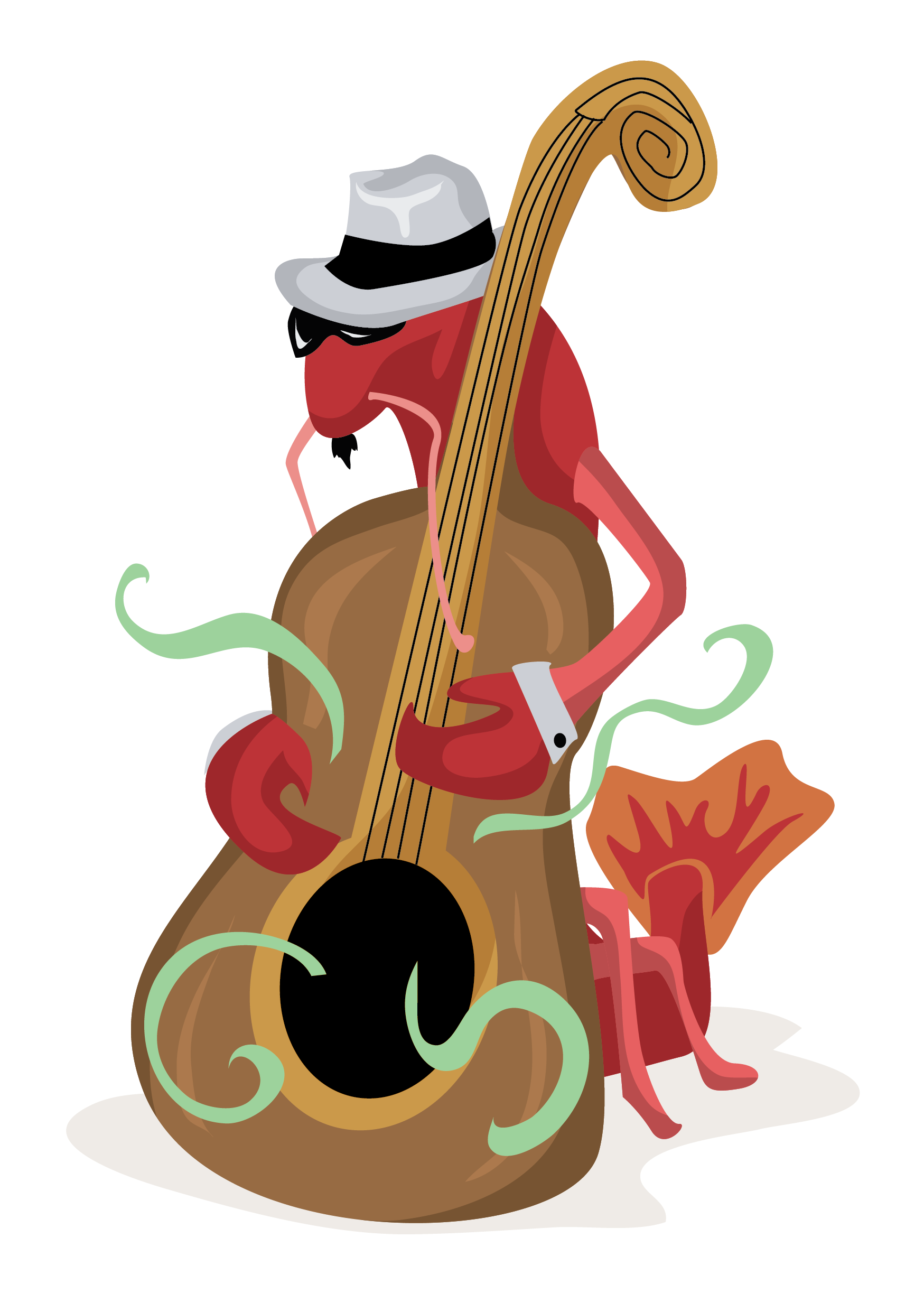Crawfish Playing Bass Free Vector Clip Art