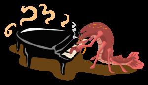 Crawfish Playing Piano Free Vector Clip Art