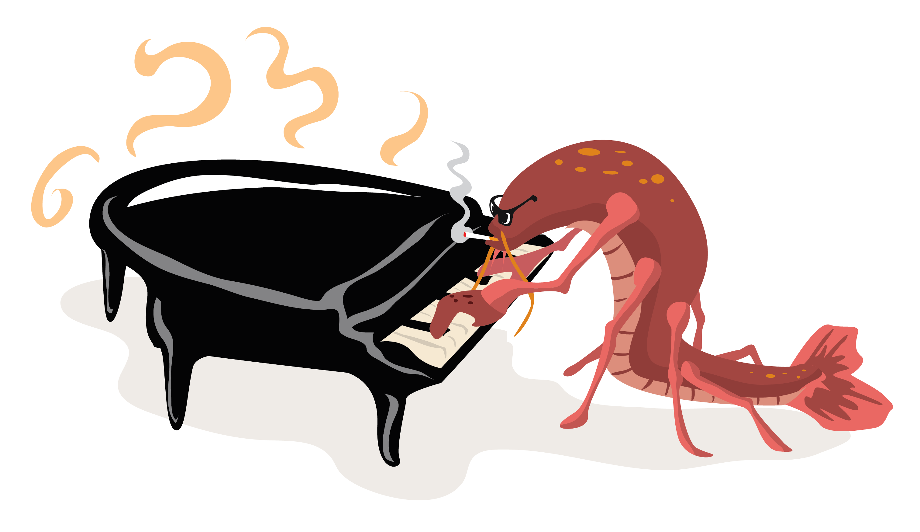 Crawfish Playing Piano Free Vector Clip Art