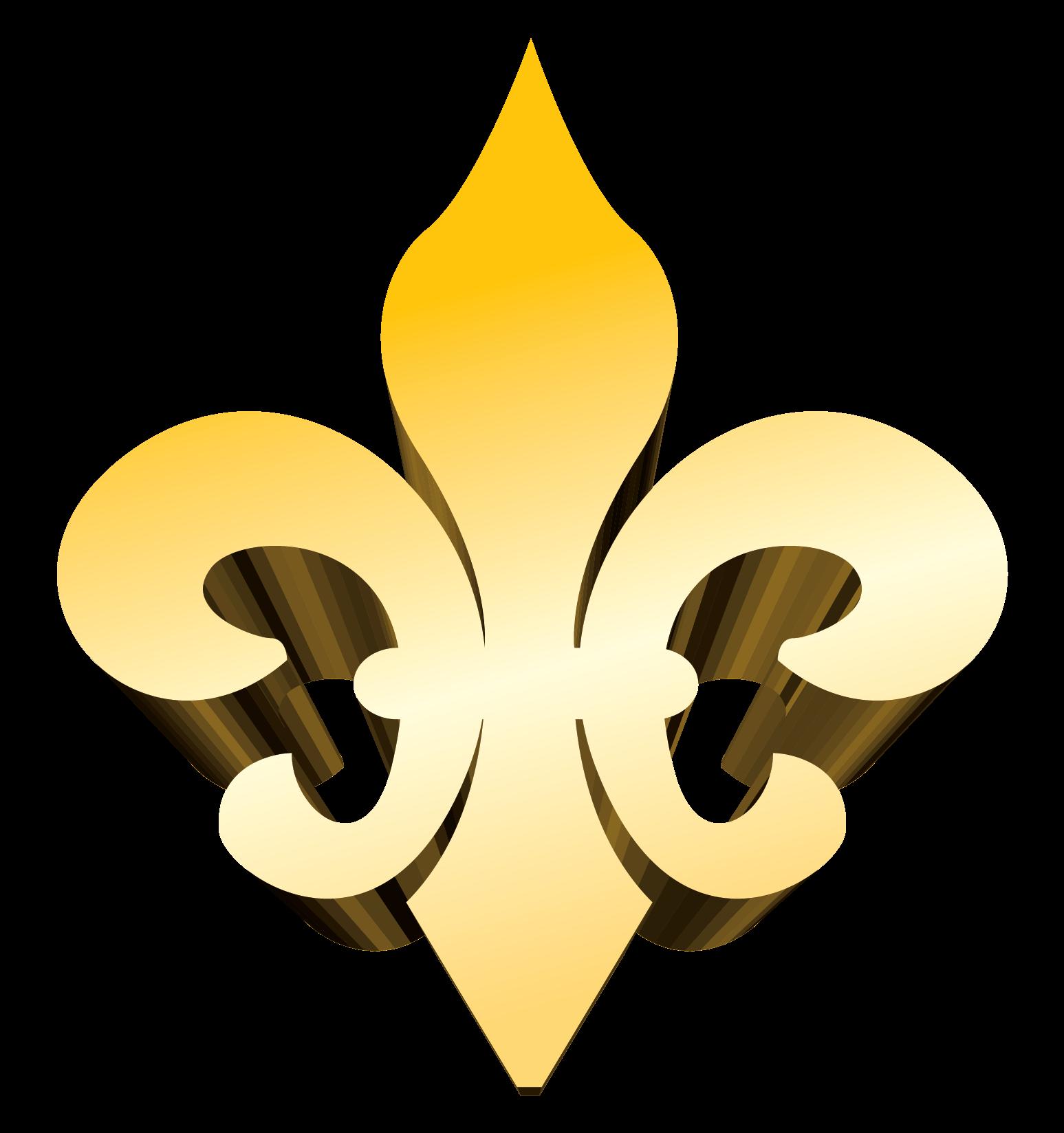 3-D Gold Fleur de Lis Vector Clip Art