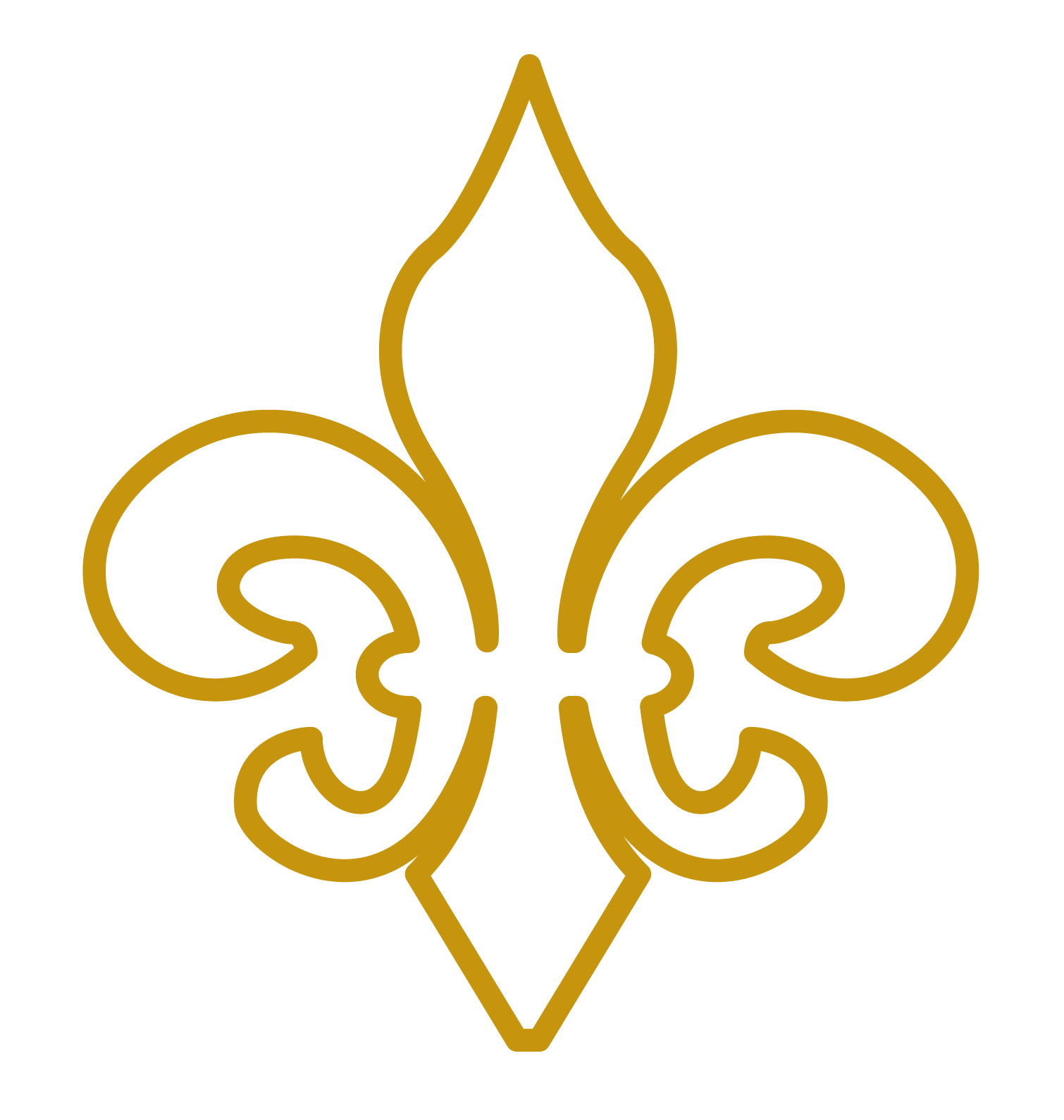 Gold Outline Fleur de Lis Vector Clip Art