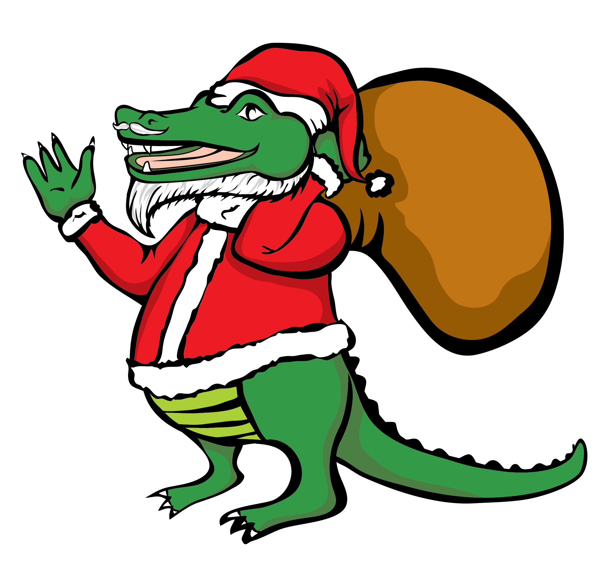 Santa Alligator Vector Clip Art
