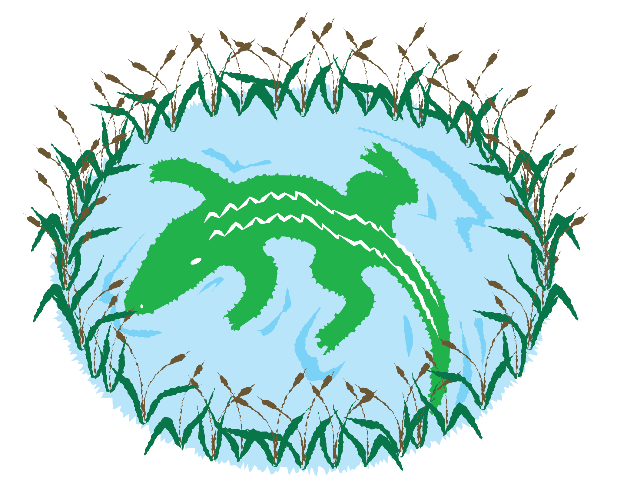 Alligator in Pond Vector Clip Art
