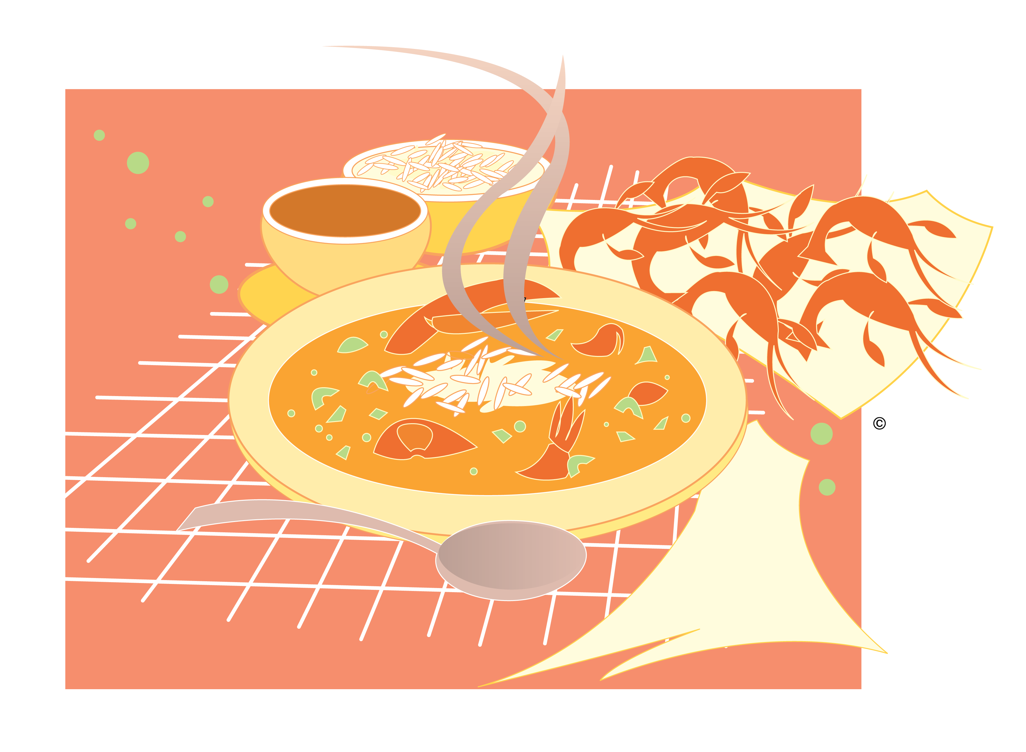 Gumbo and Crawfish Vector Clip Art